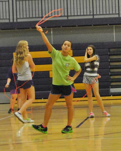 Mrs. Hudelson's seventh period class is jump roping.