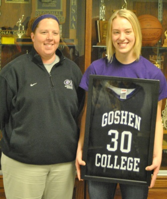 Sears poses with her new coach Stephanie Miller of Goshen College.