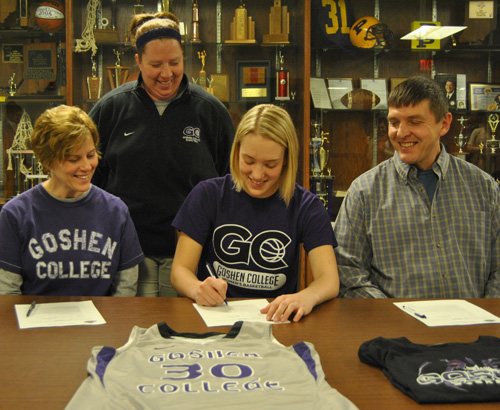 Senior Sophia Sears officially signed with Goshen College today in the Champions Conference room at PHS. Sears will play basketball for the the Goshen Maple Leafs in the fall of 2013.
