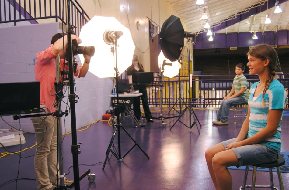 Seventh Grader Rachel Umpleby gets her first high school yearbook picture taken today at PHS Picture Day.