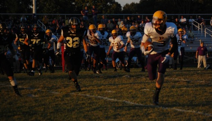 Senior Tanner Wroblewski catches a pass and looks to check where the defense is.