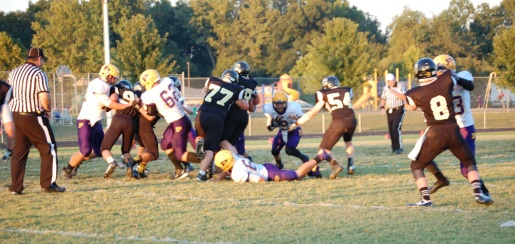 Junior Brett Balsmeyer stretches the ball out for the touchdown.