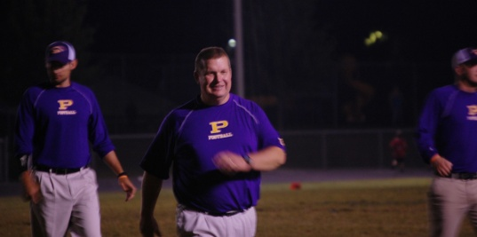 Coach Brian Balsmeyer comes out with a smile after having a big win over Corydon Central.