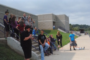 Eric Noble's class stands quietly for a demonstration.