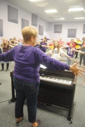 2. Mrs. Debra Stroud demonstrates a final pose.