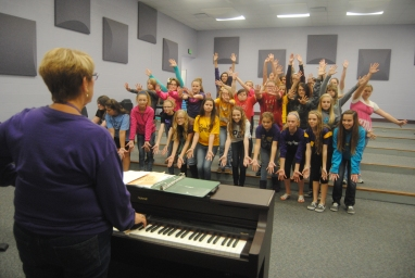 """3. The """"Treble Makers"""" practices their dances and final poses for the upcoming concert in October."""