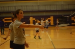 1.)	Eighth grader Marcy Timberlake plays badminton.