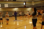 3.)	Third period Junior High PE plays badminton.