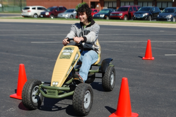 Junior Damien Brindley drives in the drunk driving program.