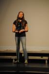 Seventh grader Kinley Block sings a song.
