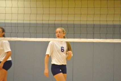Freshman Madison Street awaits a serve from opponent.