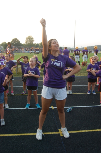 Freshman Sara Kesterson cheers with the students in cheer clinic last Friday.