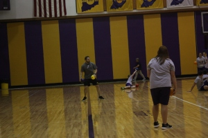 Second period students play dodge ball at Paoli Jr. Sr. High School.