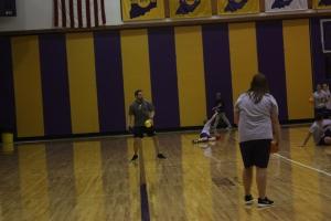 Second period students play dodge ball at Paoli Jr. Sr. High School.