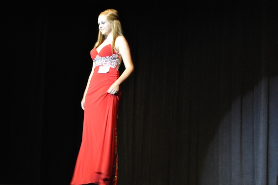 Senior Abi Andis shows her evening gown for the judges.