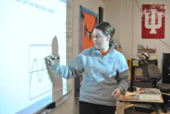 Ms. Bough demonstrates wavelength with part of her class.