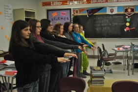 The girls in Ms. Bough's seventh grade science class learn about waves.