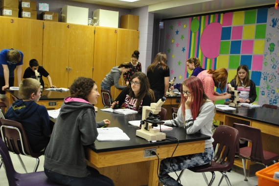 Seventh grade students studying the microscope.