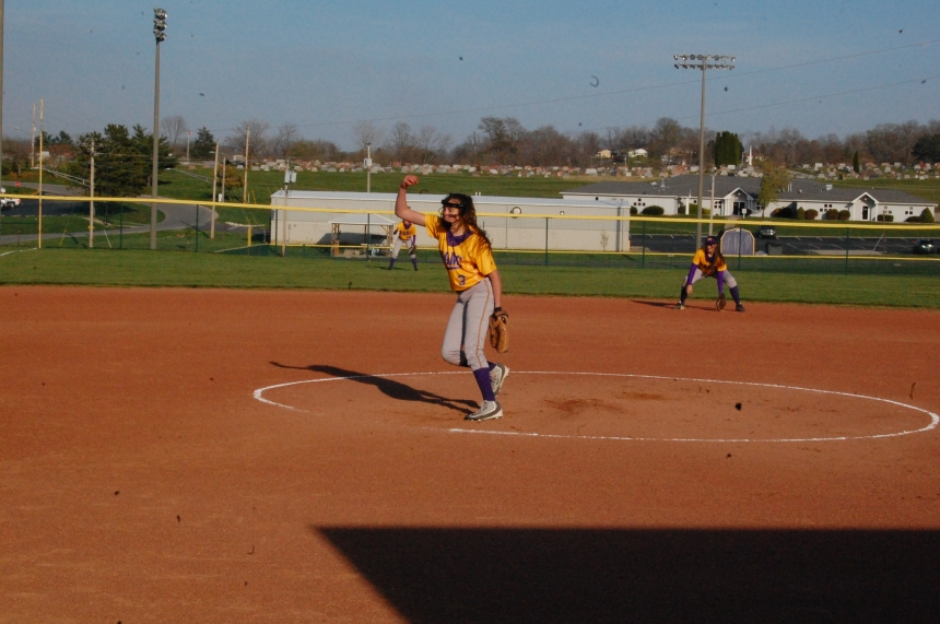 Freshman Ali Low sends a pitch to the plate in a recent game. Photo by Ty Minton