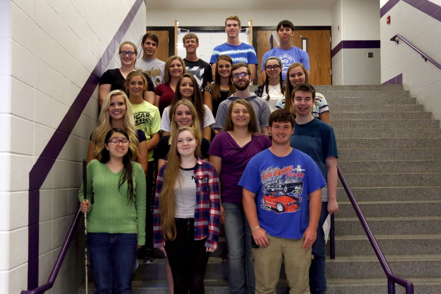 Front Row: Nikki Stewart, Angel Pierce, Levi Retherford, Row 2: meagan Dooley, Darrian Breedlove, Alyssa Cromwell, Tim Leone, Row 3: Avery Rogers, Shelby Meredith, Chase Meehan, (Orleans Student), Row 4: Rachel Cadle, Olivia Becht, Claire Cornwell, Lily Thompsom, Last Row: Mason Deaton, Kyle Street, (Orleans Student) and Judah Gehl.